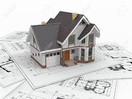 residential house with tools on architect blueprints housing