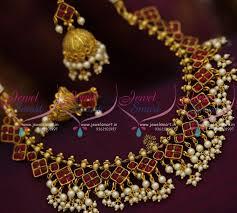 kerala earrings nl8429 kemp ruby pearl jalar kerala design necklace jhumka