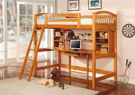 here s another rich wood loft bed featuring an array of shelving options above the centrally