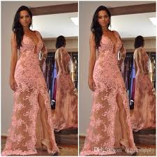 2018 long illusion lace african dresses evening wear side high