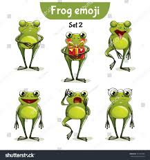 vector set cute frog characters set stock vector 721569394