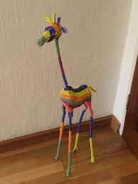african beaded wire animal sculpture giraffe large by hadeda