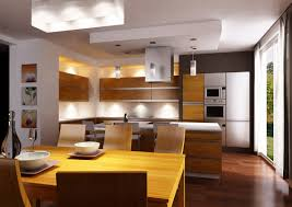 endearing large open kitchen features dark brown color wooden