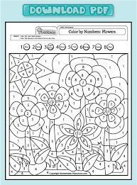 spring math worksheets addition color by number spring math