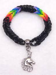 black rainbow unicorn bracelet made with rainbow loom bands for a