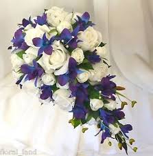 wedding flowers ebay silk wedding flowers blue purple orchids white roses teardrop