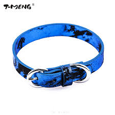dog necklace leather images Genuine leather dog collar for puppy small medium dogs blue bling jpg