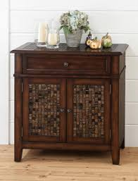 baroque brown accent cabinet with mosaic tile inlay tables