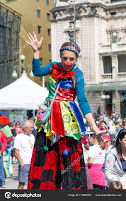 clown stilts women clown on stilts stock photo kataklinger 173669356