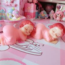 shop pink sleep baby doll ornaments mini