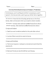 compound subjects and predicates worksheets worksheets
