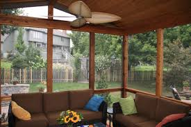 interesting glass enclosed patio decor with white ceiling fan and