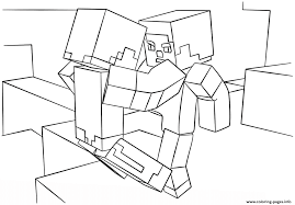 minecraft fight scene coloring pages printable