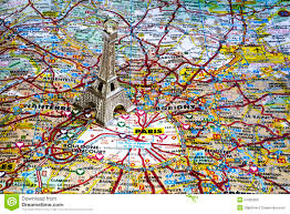 Paris France On A Map by Silver Color Eiffel Tower On The Paris Map Stock Photo Image