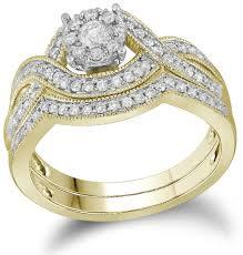 real wedding rings images Ladies 10k yellow gold cluster real diamond milgrain infinity jpg