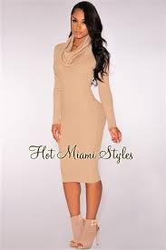 miami styles knit ribbed cowl neck dress