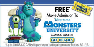 free monsters university movie ticket monsters purchase