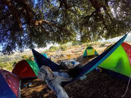 sunday morning camp camping hike hiking hammock tents autumn tree