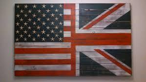 British Flag With Red Half Usa With Starfish Stars Half Uk Flag Wall Art