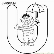 abc letter umbrella sesame street ernie coloring pages 7