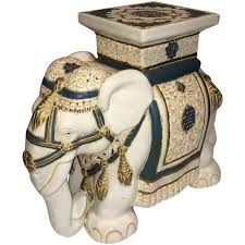 elephant end tables ceramic elephant garden stool or side table at 1stdibs