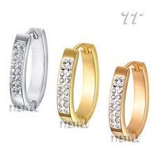 sharp earrings tt multi sparkling cz s steel u sharp hoop earrings medium large