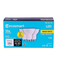 3 pk led mr16 gu10 ecosmart 5 watt 50w light bulb bright white