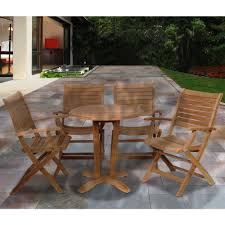 Miami Bistro Chair Amazonia Aruba Teak 5 Patio Dining Set Sc Victor 4paluarm