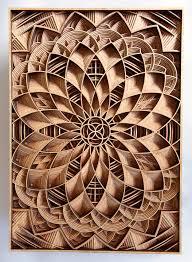 geometric wood sculpture laser cuts through wood relief sculptures by gabriel schama