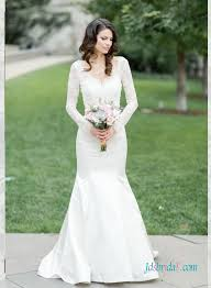 h1588 elegant illusion lace long sleeved mermaid wedding dress