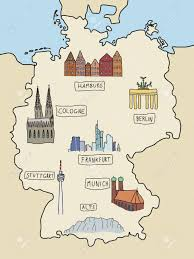 Map Of Hamburg Germany by Germany Famous Places On A Doodle Map Berlin Hamburg Cologne