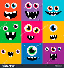 Halloween Cartoon Monsters by Cartoon Monster Faces Vector Set Cute Square Avatars And Icons