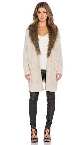 sweater with faux fur collar heartloom velma sweater with faux fur collar in sand revolve