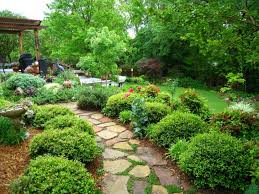 cool outdoor living space for front garden layout showcasing