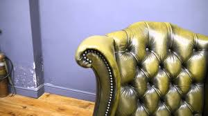 Green Chesterfield Armchair Pair Two Queen Anne Green Leather Chesterfield Armchairs Youtube