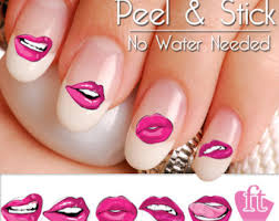 lips nail art etsy