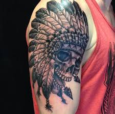indian headdress tattoo on ribs depiction tattoo gallery tattoos ethnic native american skull