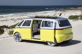 pink volkswagen van inside vw revives its iconic microbus as a self driving electric van