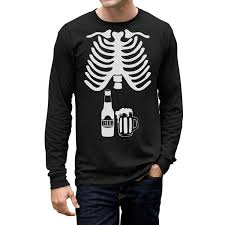 Halloween Shirt Costumes Amazon Com Halloween Skeleton Beer Belly Xray Funny Men U0027s Long