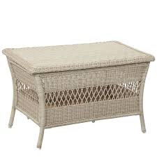 white wicker end table hton bay outdoor coffee tables patio tables the home depot