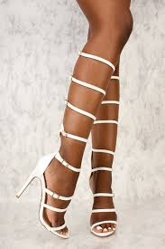white strappy buckle accent gladiator high heels faux leather