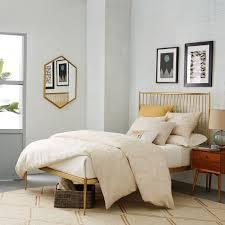 west elm bedroom stella metal bed brass west elm
