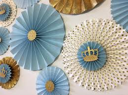 paper fan backdrop prince party paper fan backdrop baby blue and gold