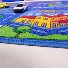 Kids Play Rugs With Roads by Kids Colourful Blue Play Town Village Cheap Rug Kukoon