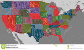 Map With States by Usa Map With States Pictorial Geographical Poster Of America