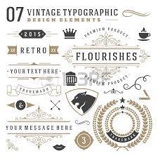 retro vintage typographic design elements labels ribbons logos