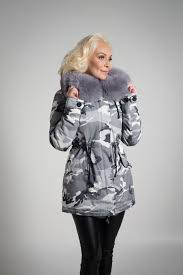 kate winter coat in light grey camo with custom dyed lush grey