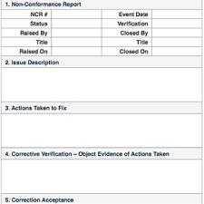 non conformance report form template non conformance reports quality