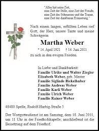 Anzeige für Martha Weber - 111065