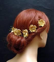 gold hair accessories gold silk flower hair pins wedding hair accessories set of 5